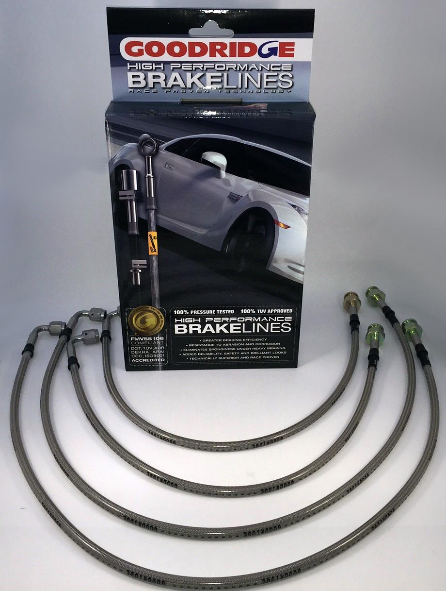Goodridge - sada pancéřových brzdových hadiček - Škoda Fabia od r. 12/99 1,0 - RS všechny modely (Základní provedení bez ochranné bužírky)
