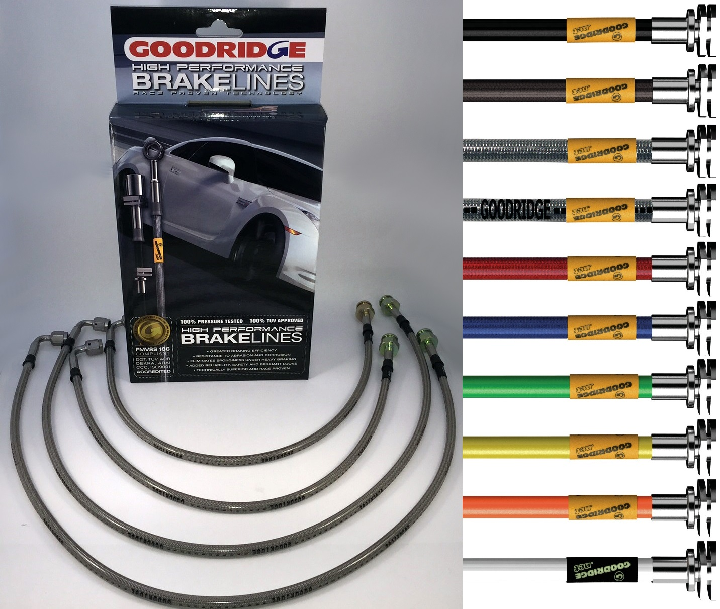 Goodridge - sada pancéřových brzdových hadiček s ochrannou bužírkou - Lancia Thema všechny modely s ABS + 8.32