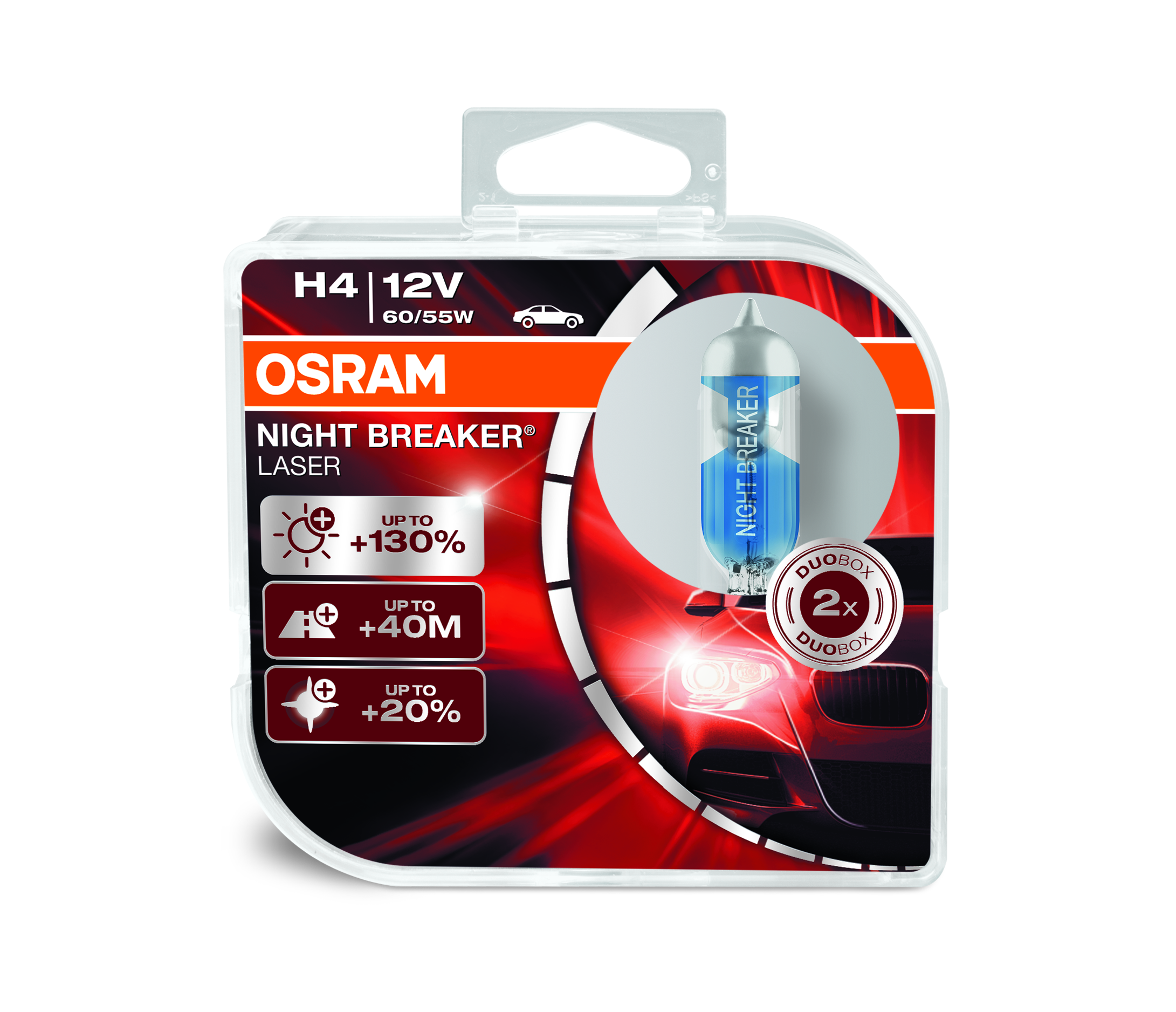 Osram halogenová žárovka, NIGHT BREAKER LASER, H4, P43t, 12V, 60/55W, 64193NBL-HCB