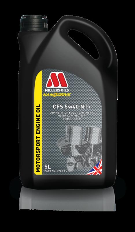 Motorový olej MILLERS OILS NANODRIVE CFS 5w40 NT+, 5 l (Plně syntetický motorový olej, základové oleje PAO a 3estery, ZDDP – přesahuje kritéria norem API SM, CF a ACEA A3/B4)