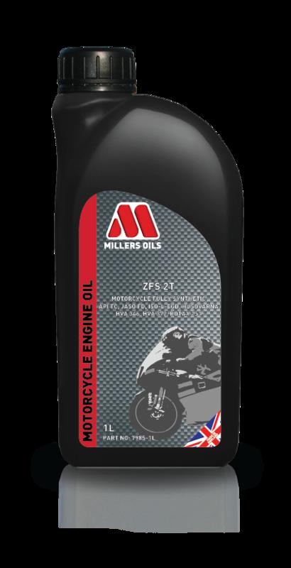 Motorový olej MILLERS OILS ZFS 2T, 1 l (SAE 20 – plně syntetický esterový olej pro vysoce výkonné 2-taktní motory - API TC, JASO FD, ISO-L-EGD, Husqvarna HVA 346 & HVA 372, Rotax)