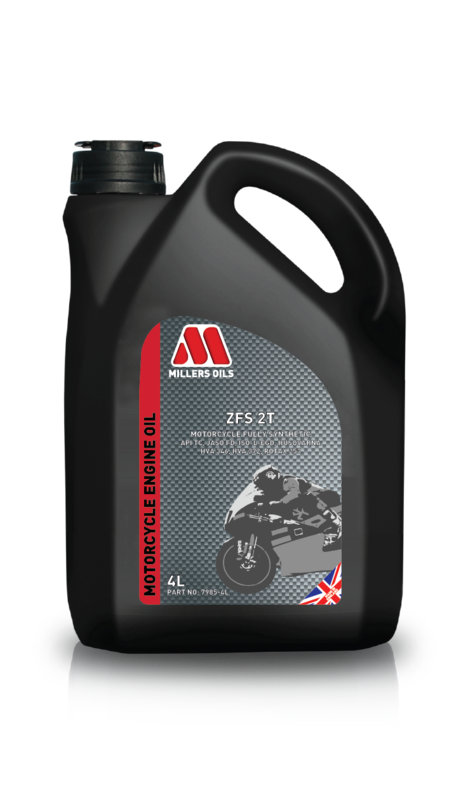 Motorový olej MILLERS OILS ZFS 2T, 4 l (SAE 20 – plně syntetický esterový olej pro vysoce výkonné 2-taktní motory - API TC, JASO FD, ISO-L-EGD, Husqvarna HVA 346 & HVA 372, Rotax)