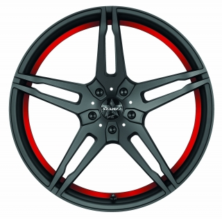 BARRACUDA STARZZ Mattblack-polished / undercut Color Trim rot - 8,5x19 / 5x112 / ET45, RTSTA85945R/MB-P/3000