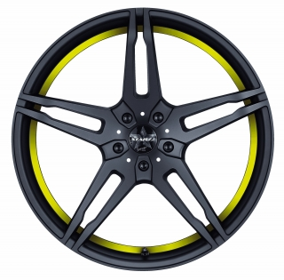 BARRACUDA STARZZ Mattblack-polished / undercut Color Trim gelb - 8,5x19 / 5x112 / ET45, RTSTA85945R/MB-P/1023