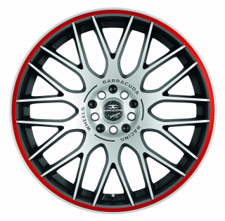 BARRACUDA KARIZZMA Mattblack-polished / Color Trim rot - 8x18 / 5x100 / ET32, RTKAR80832M/R/MATTBL-POL./3000
