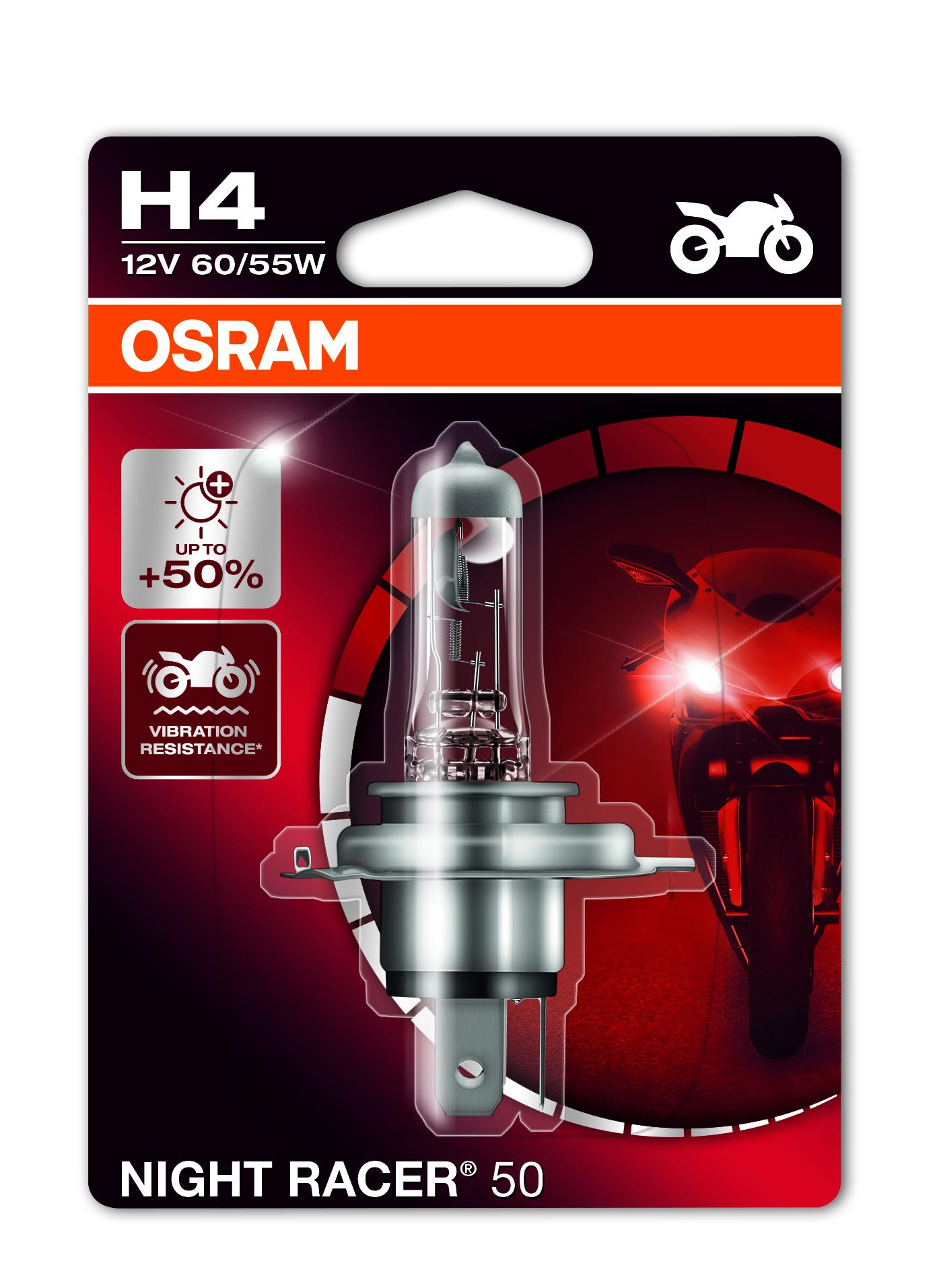 Osram halogenová žárovka, MOTO Night Racer 50, H4, P43t, 12V, 60/55W, 64193NR5-01B
