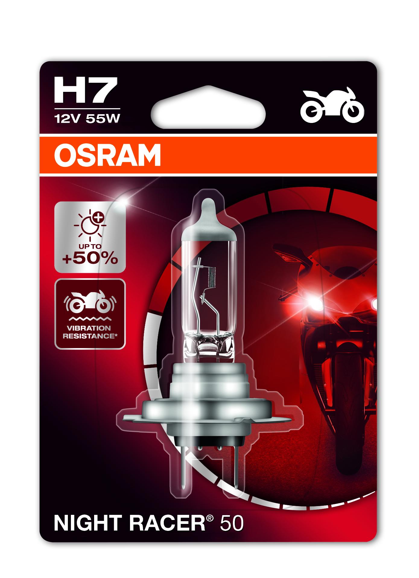 Osram halogenová žárovka, MOTO Night Racer 50, H7, PX26d, 12V, 55W, 64210NR5-01B