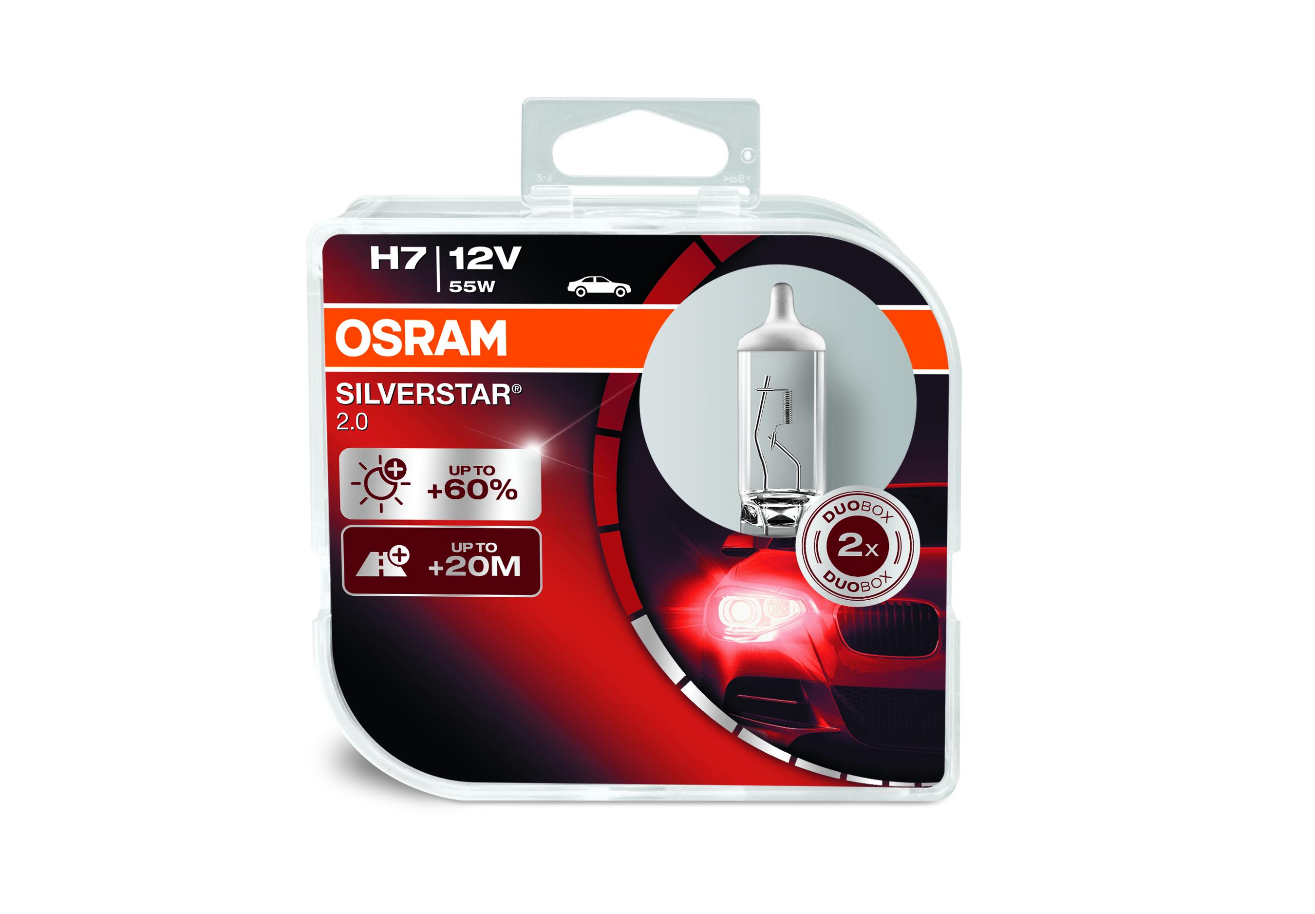 Osram halogenová žárovka, SILVERSTAR 2, H7, PX26d, 12V, 55W, 64210SV2-HCB