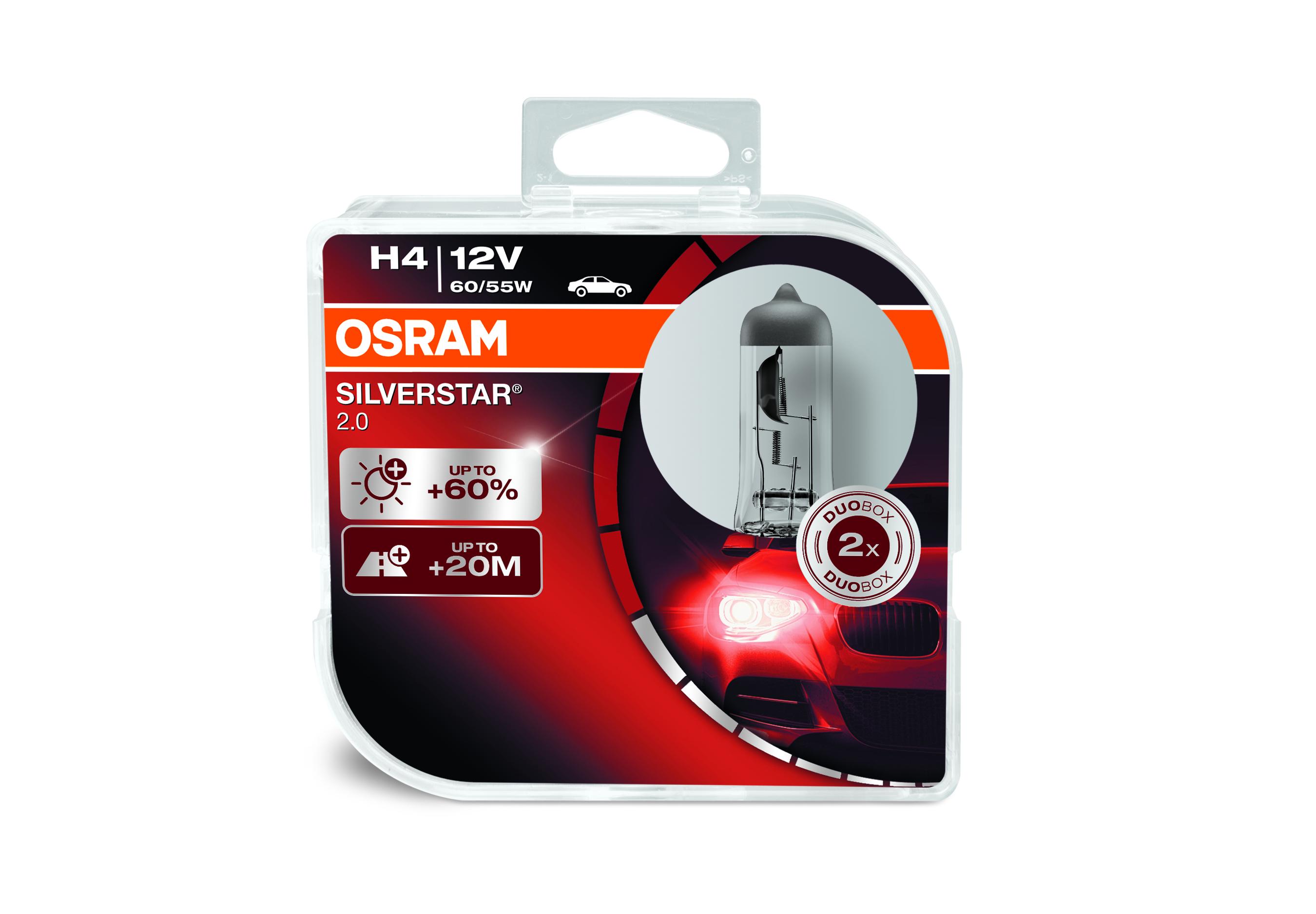 Osram halogenová žárovka, SILVERSTAR 2, H4, P43t, 12V, 60/55W, 64193SV2-HCB