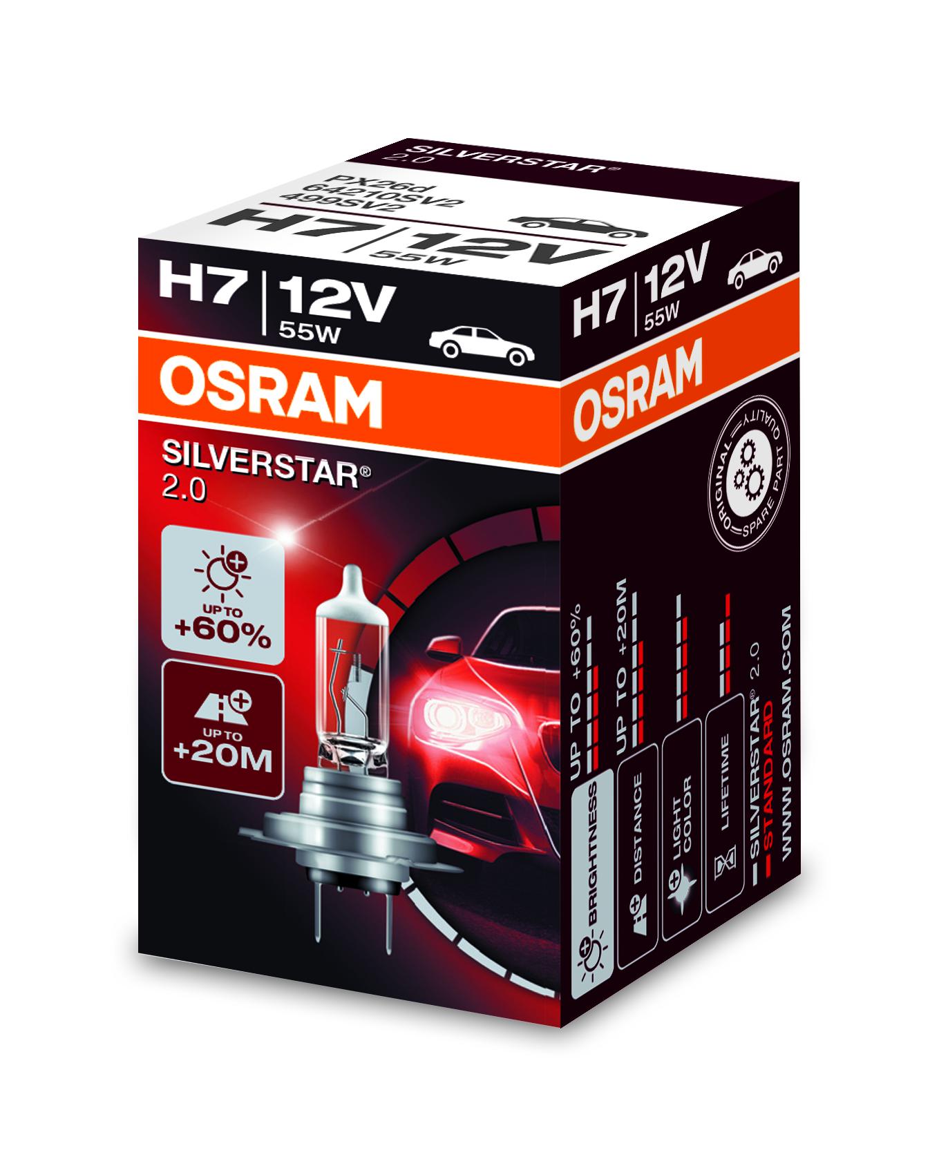 Osram halogenová žárovka, SILVERSTAR 2, H7, PX26d, 12V, 55W, 64210SV2
