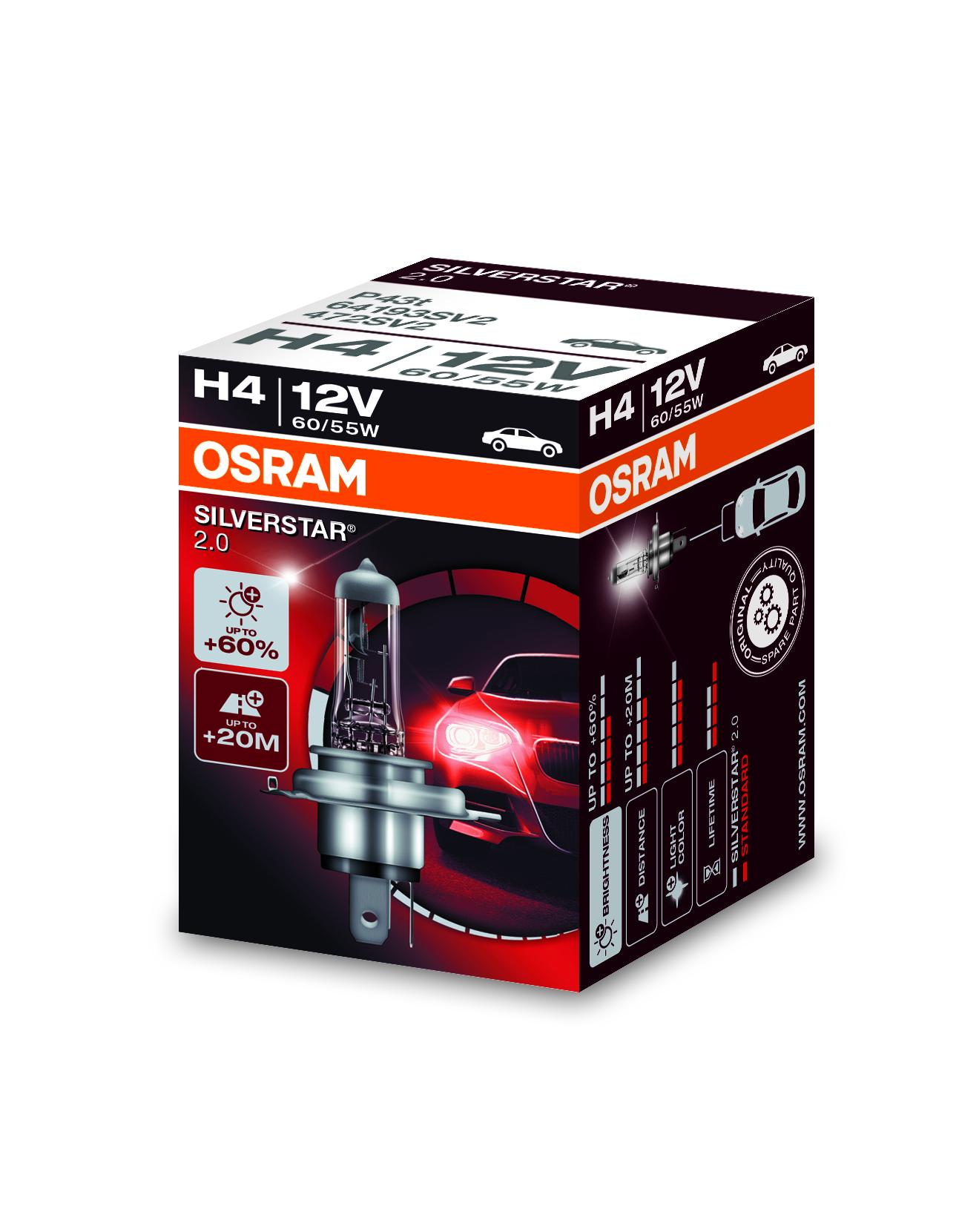 Osram halogenová žárovka, SILVERSTAR 2, H4, P43t, 12V, 60/55W, 64193SV2