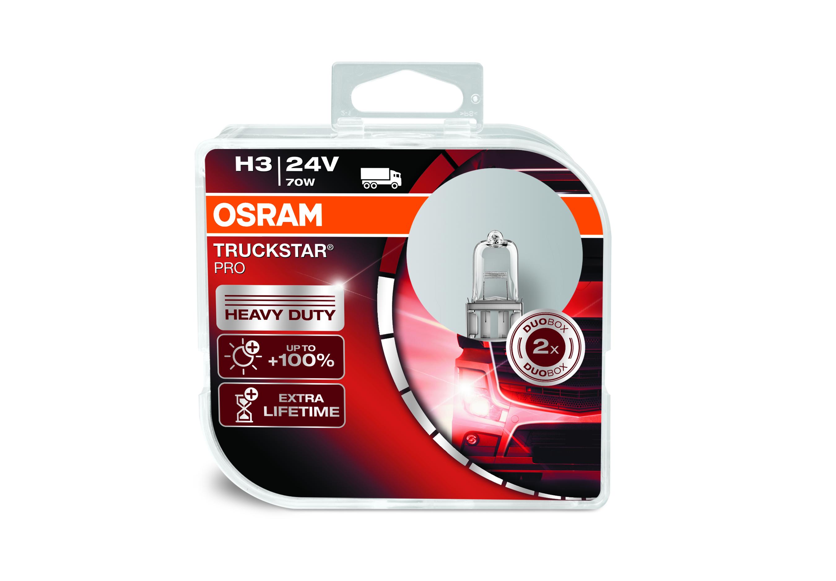 Osram halogenová žárovka, TRUCKSTAR PRO, H3, PK22s, 24V, 70W, 64156TSP-HCB