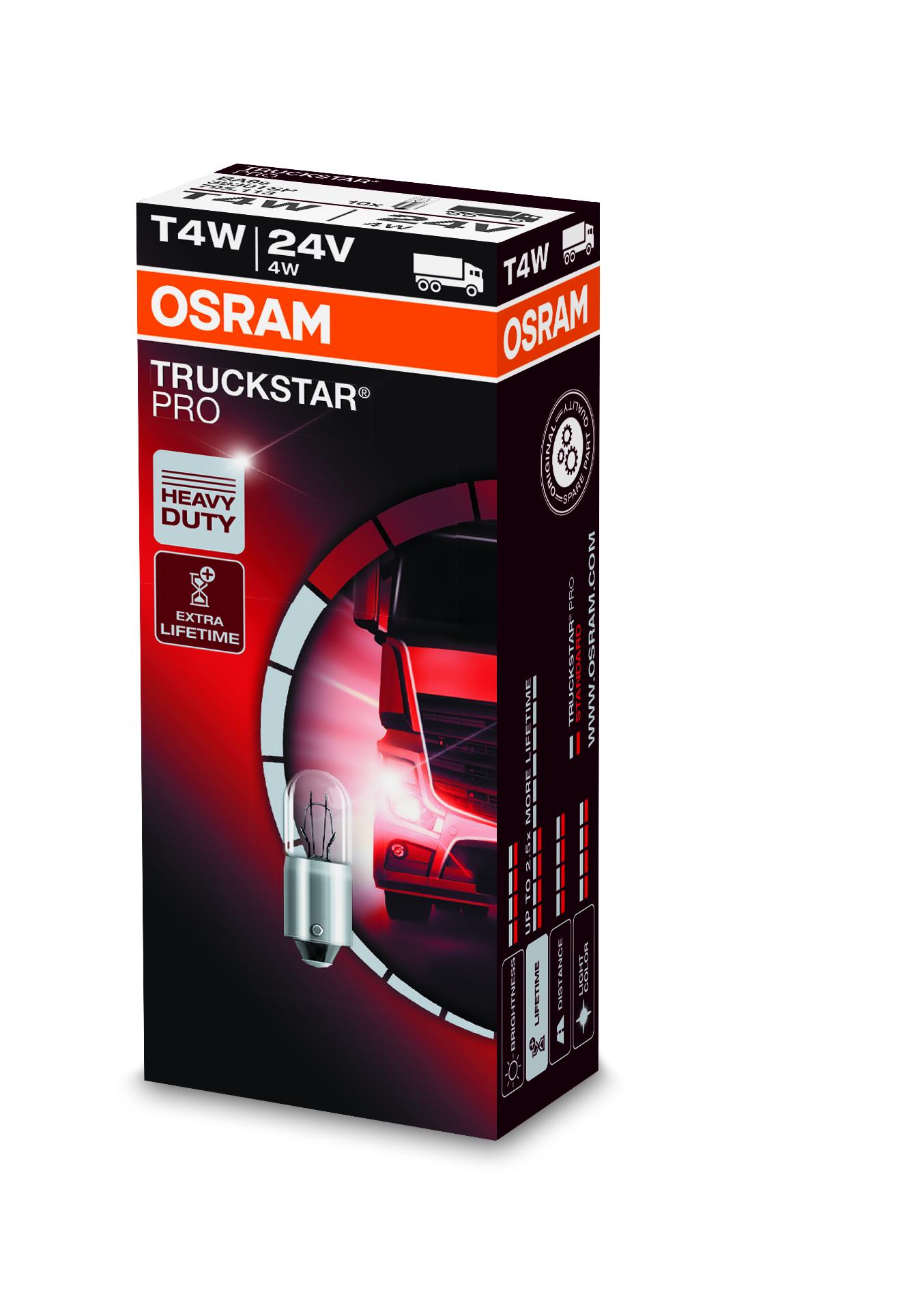 Osram halogenová žárovka, TRUCKSTAR PRO, T4W, BA9s, 24V, 4W, 3930TSP