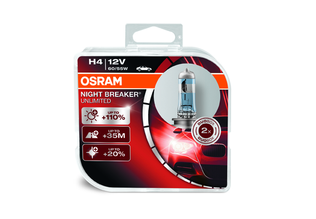 Osram halogenová žárovka, NIGHT BREAKER UNLIMITED, H4, P43t, 12V, 60/55W, 64193NBU-HCB