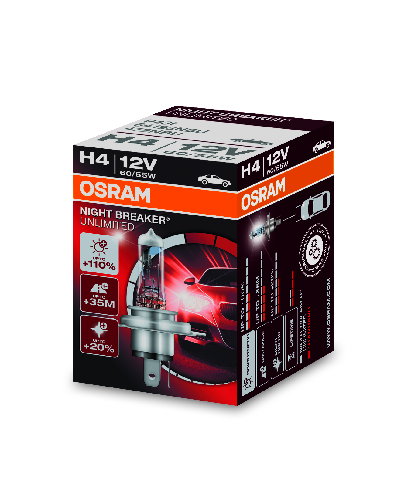 Osram halogenová žárovka, NIGHT BREAKER UNLIMITED, H4, P43t, 12V, 60/55W, 64193NBU