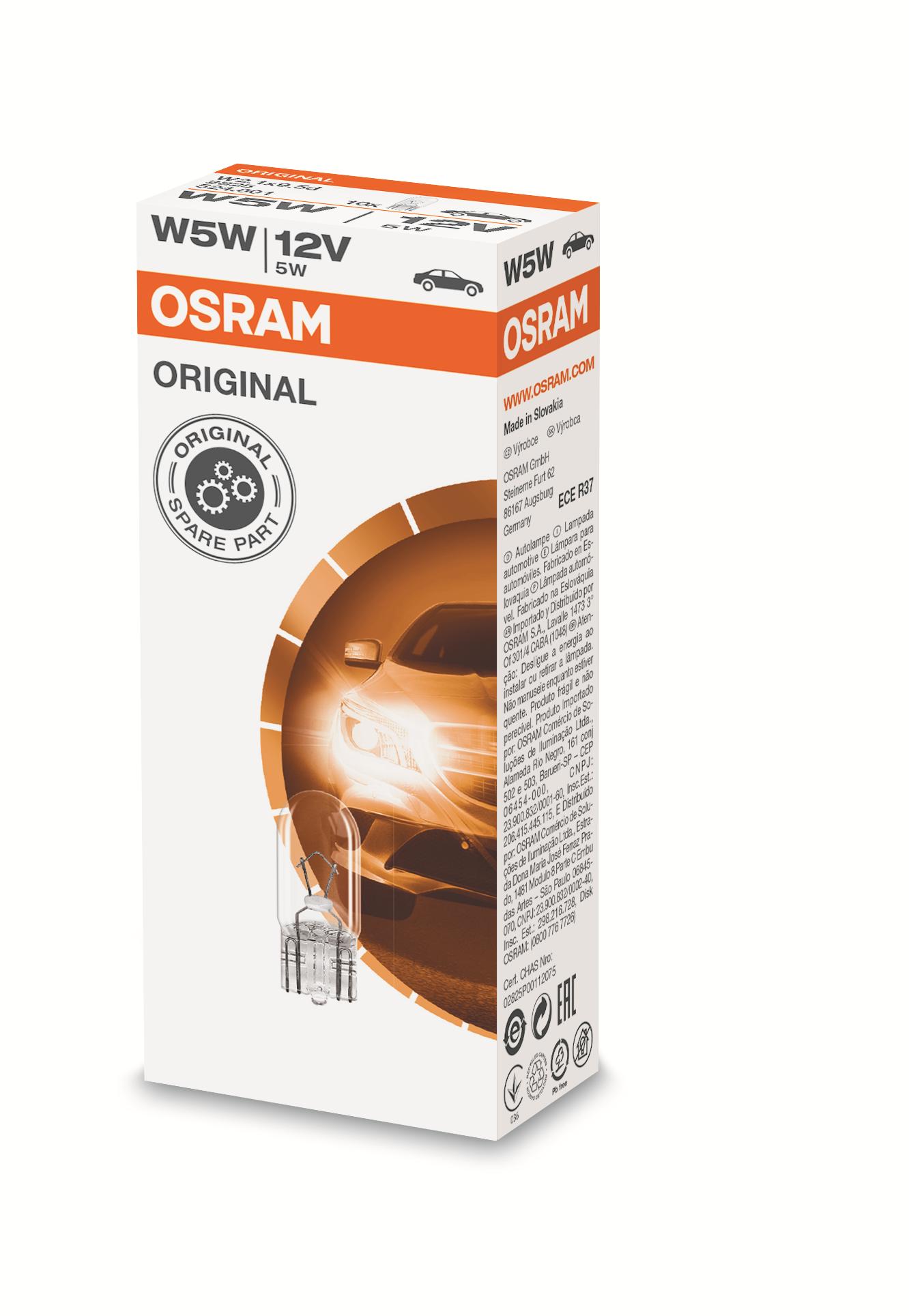 Osram halogenová žárovka, STANDARD, W5W, W2,1x9,5d, 12V, 5W, 2825