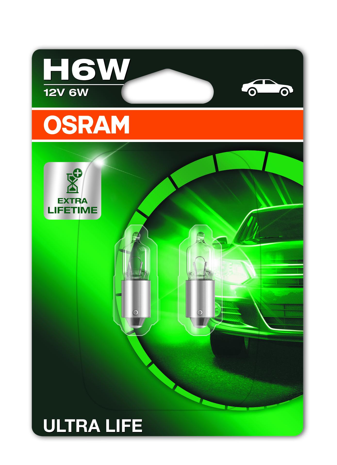 Osram halogenová žárovka, ULTRA LIFE, H6W, BAX95, 12V, 6W, 64132ULT-02B