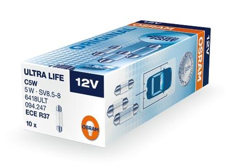 Osram halogenová žárovka, ULTRA LIFE, C5W, SV8,5-8, 12V, 5W, 6418ULT