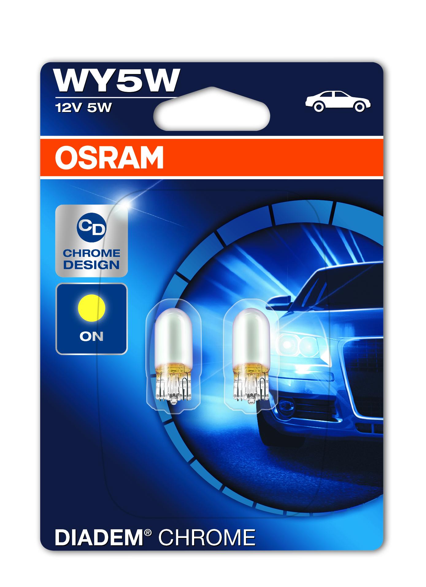 Osram halogenová žárovka, Diadem Chrome, WY5W, W2,1x9,5D, 12V, 5W, 2827DC