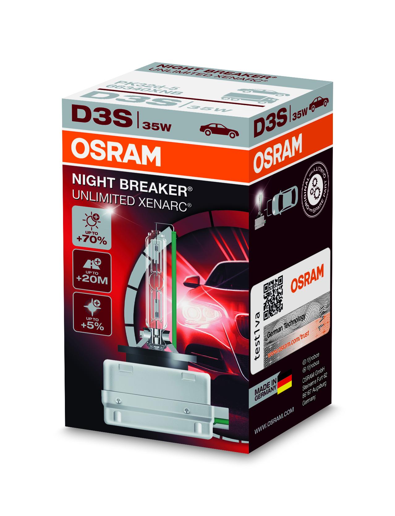 Osram Xenonová výbojka, XENARC NIGHT BREAKER UN., D3S, PK32d-5, 12/24V, 35W, 66340XNB