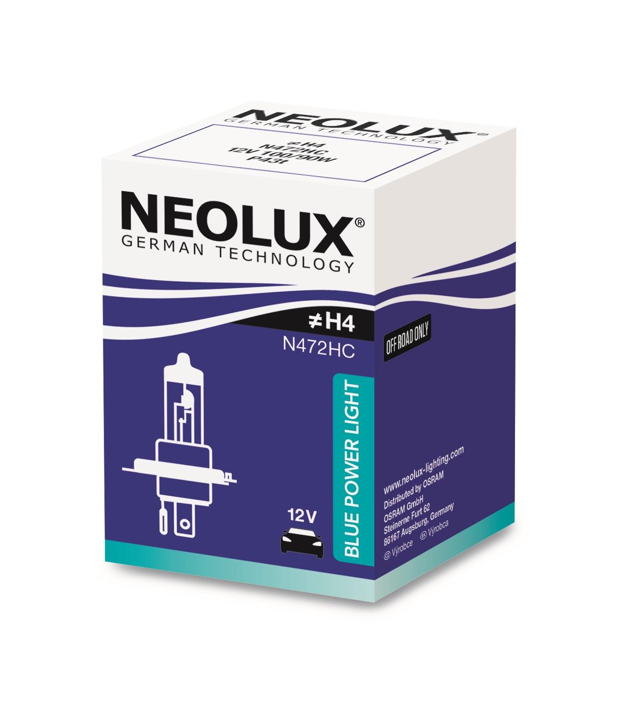 Osram halogenová žárovka, NEOLUX BLUE POWER LIGHT, H4, P43t, 12V, 100/90W, N472HC
